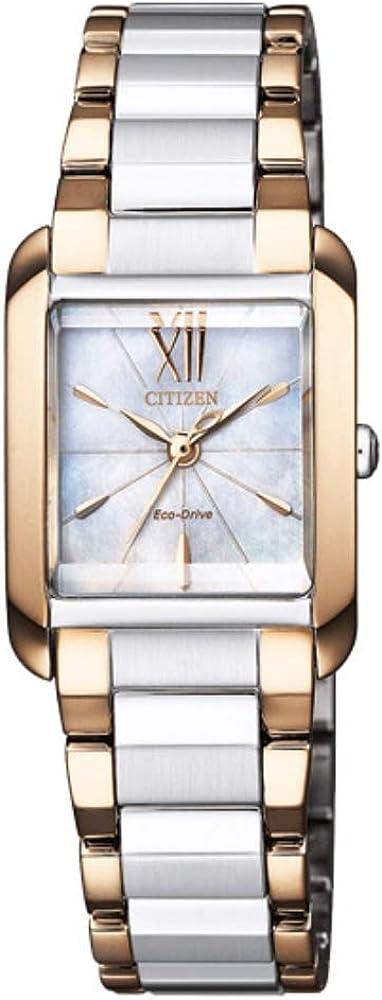 Citizen Reloj Analógico para Mujer de Eco-Drive con Correa en Recubierto de Acero Inoxidable EW5556-87D