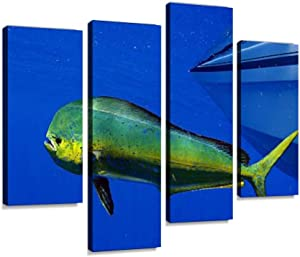 YKing1 mahi-mahi or Dolphin Fish Wall Art Painting Pictures Print On Canvas Stretched & Framed Artworks Modern Hanging Posters Home Decor 4PANEL