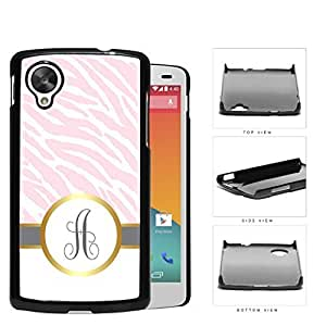 Customized Pink and White Zebra Pattern Animal Print with Gray and White Vertical Stripes on Bottom and Gray Round Monogram in Center Outlined in Gold Hard Plastic Snap On Cell Phone Case LG Nexus 5