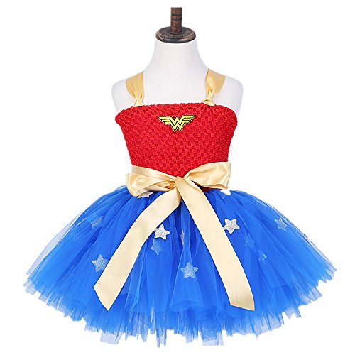 Starkma Infant Baby Girl Handmade Superhero Tutu Dress Wedding dress 30 (L(5-6T), wonder women)