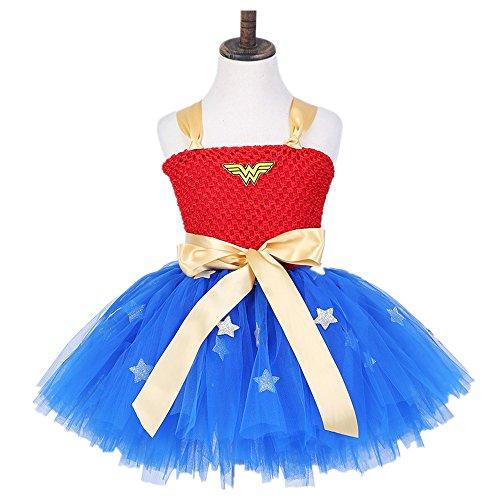 Starkma Infant Baby Girl Handmade Superhero Tutu Dress Wedding dress 30 (M(3-4T), wonder women)