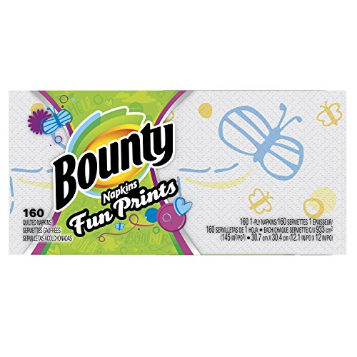 Bounty Paper Napkins, Select Prints, 160 Count (Pack of 16)