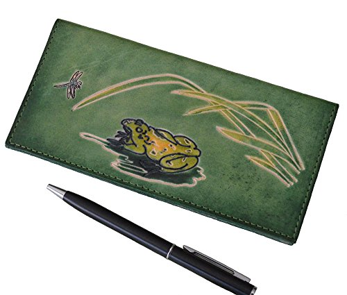 Genuine Leather Checkbook Cover, Pool Frog & Dragonfly Patterns, More Color ()