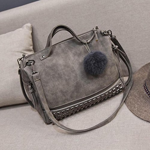 Shoulder for Bag Soft Two Fashion Bag Large Morwind Tote Women Handbag Bag PU Rivet Handbags Zipper Bag Women Women Handbag Handle Travel Shoulder Straps Shoulder Gray Satchel tEqx5Sw