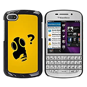 Paccase / SLIM PC / Aliminium Casa Carcasa Funda Case Cover para - Funny Art Gas Mask Question Why - BlackBerry Q10