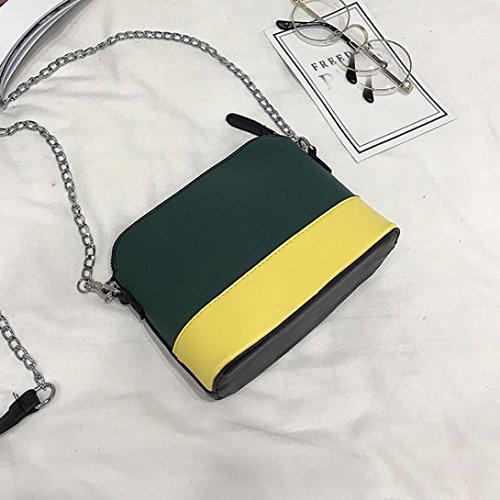 ESAILQ Colores Niña Bolsos Hombro para de de Pequeña Mujer DS Bandolera por Bolso Verde Piel qv87p7w