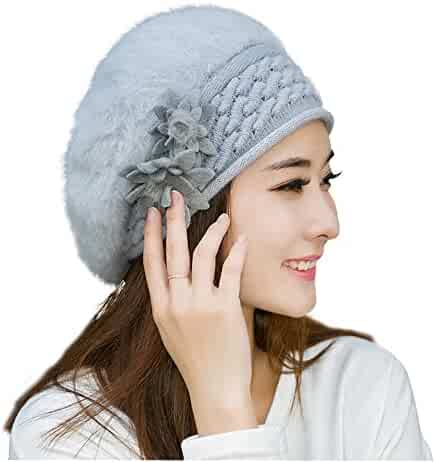 42204fe24ba HINDAWI Slouchy Beanie Scarf Gloves Set for Women Winter Hat Warm Skull Cap  Scarves Touch Screen