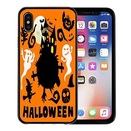 Emvency Phone Case for Apple iPhone Xs Case/iPhone X Case,Autumn Black Ghost Happy Halloween Cute Cartoon Comic Colorful Soft Rubber Border Decorative, -