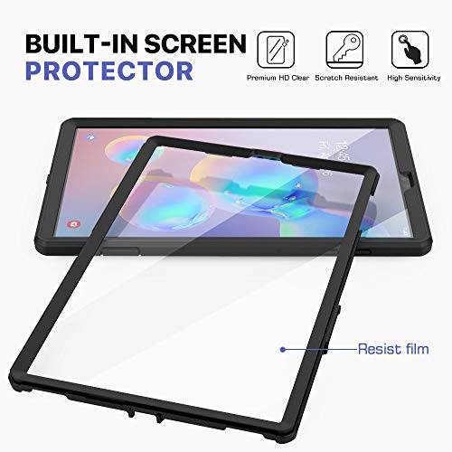 "MoKo Case Fit Samsung Galaxy Tab S6 10.5 2019, [Heavy Duty] Shockproof Full Body Rugged Hybrid Cover with Built-in Screen Protector & Pencil Holder for Galaxy Tab S6 10.5"" SM-T860/T865 2019 - Black"
