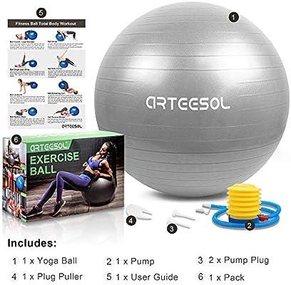 arteesol Balón de Ejercicio Anti-explosión, 45cm / 55cm / 65cm / 75cm Fitness Yoga Ball Estabilizador de balón de Equilibrio Resistente con Bomba rápida para Core Force: Amazon.es: Deportes y aire libre