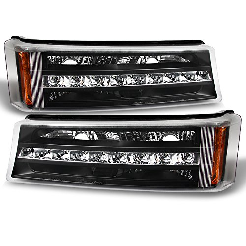 For Chevy Silverado 1500 2500 3500 Avalanche LED Bumper Lights Turn Signal Lamps Black