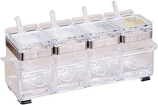 weiwei Cocina Acrílico Sazonador Caja Batería De Cocina Acero Inoxidable 304 Condimento Puede Juego De 4 Piezas: Amazon.es: Hogar