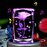 Biutee 3D Laser Etched Crystal Cube Rotating Rose Night lamp with 7-led Colorful Lights and 18 Songs