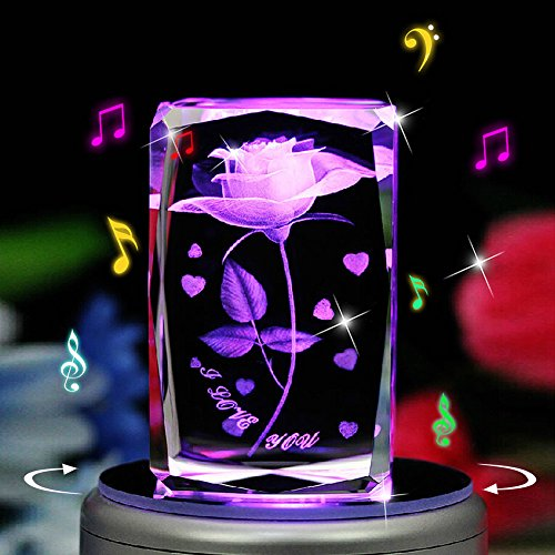 Biutee 3D Laser Etched Crystal Cube Rotating Rose night lamp with 7-led Colorful Lights and 18 - Cubes 3-d Crystal