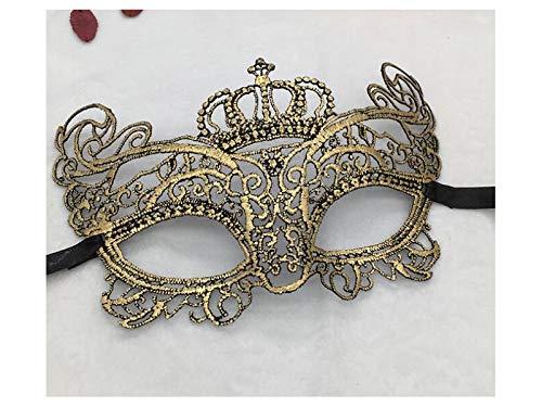 Zehaer Crafts Elegant Crown Half Face Festival Masquerade Mask Venetian Lace Cutout Mask (Golden) for Carnival -