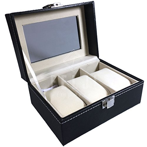 Felji 3 Slot Watch Box Black Leather Display Glass Top Jewelry Case Organizer Unisex by Felji