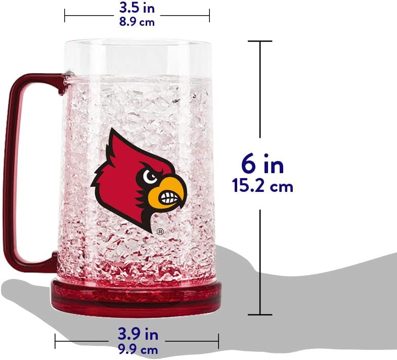 NCAA Louisville Cardinals 16oz Crystal Freezer Tumbler with Lid and Straw