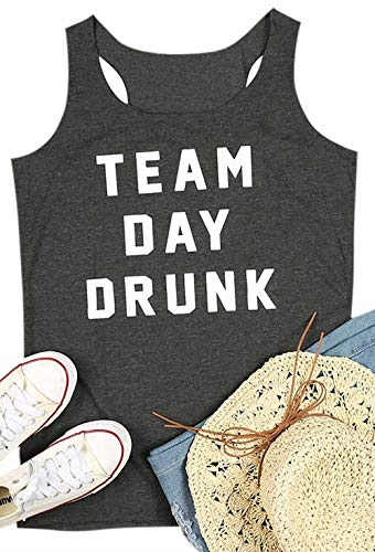 BANGELY Team Day Drunk Graphic Tank Tops for Women Letter Print Racerback Vest T Shirt Summer Drinking Camis Tees Size X-Large (Grey)