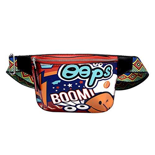 (Roselv Bum Bag - New Cute Fanny Pack Waist Bag Women Personality Belt Bags PU Leather Graffiti Chest Handbag Shoulder Belt Red)