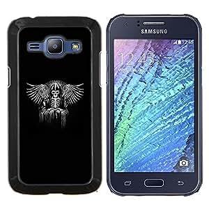 Cubierta protectora del caso de Shell Plástico || Samsung Galaxy J1 J100 || Vikingo Black Wings Ángel Trono Rey @XPTECH