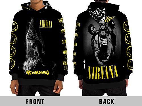 Demonic Grunge Legend Kurt Cobain (Nirvana) Nevermind All Over Sublimation Print Apparel (X-Large, Pull Over Hoodie)