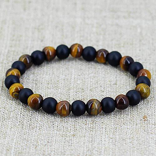 - suchadaluckyshop siamsmilethailandshop Men Tiger Eye Matte Onyx Mala Stone Yoga Beaded Bracelet Energy Viking Jewelry
