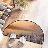 SEMZUXCVO Door mat Customization Lake House Decor Collection Misty Dawn at Forest with Frost Lake Plants Sun Peaking Through The Horizon Country Home Decor W31 x L20 Peach Cream Brown