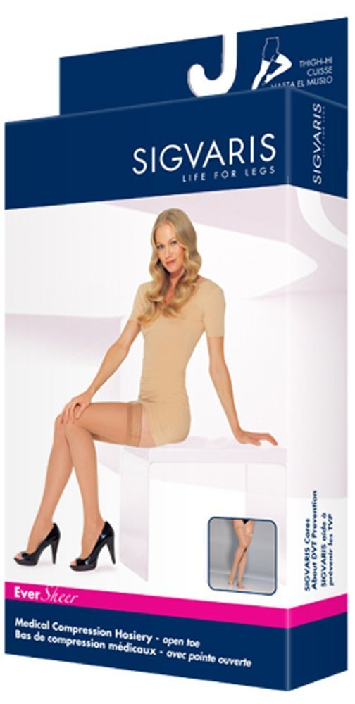 Sigvaris Ever Sheer Thigh High 15-20mmHg Women's Open Toe Long Length, Large Long, Natural by Sigvaris B004W58MS6