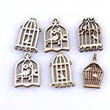 Loodar 50Pcs 30X20mm Mixed Birdcage Pattert Natural Wood Scrapbooking Carft Accessories Wind Chimes Hanging Decorations