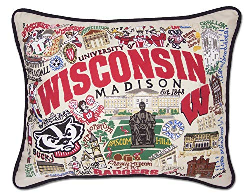 catstudio- University of Wisconsin Embroidered Throw Pillow - 16