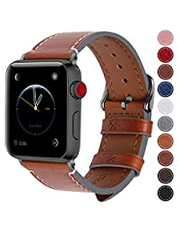 Fullmosa Compatible Apple Watch Band 42mm and 38mm, 8 Colors Wax Leather Band/Strap for iWatch Series 3, Series 2, Series 1