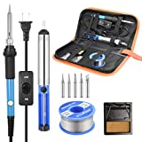 Soldering Iron Kit [Upgraded] 60W Adjustable Temperature Welding Tool with ON-Off Switch, Rarlight Soldering Kits, 5pcs Soldering Iron Tips,Desoldering Pump,Solder Wire,Soldering Iron Stand,Carry Bag