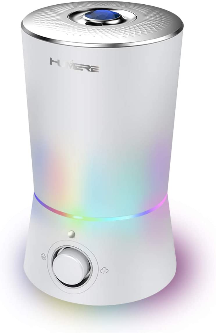 HUMERE Ultrasonic Cool Mist Humidifiers for Bedroom with Large Top Fill Tank, 7 Color Shifting Night Light, Whisper Quiet, Easy to Clean,with Filter l Humidifier for Baby l Essential Oil Diffuser