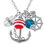 Lux Accessories Silver Tone Sailor Nautical Cluster Anchor Ship Wheel Charm Necklace