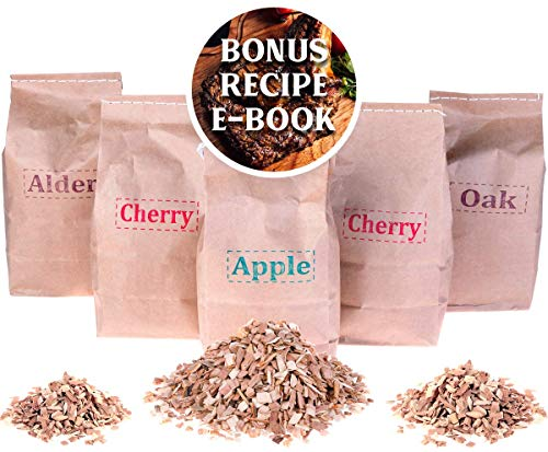Smoking Chips Pack: Alder, Oak, Apple, Cherry - Wood Smoker Chips for BBQ and Grill (Organic Bar Apple)