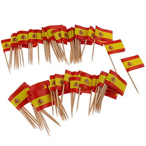 Fityle Toothpick Wood Toothpicks Decorative Flag Toothpicks Cake Decorations Party Decorations Supplies - Spain ()