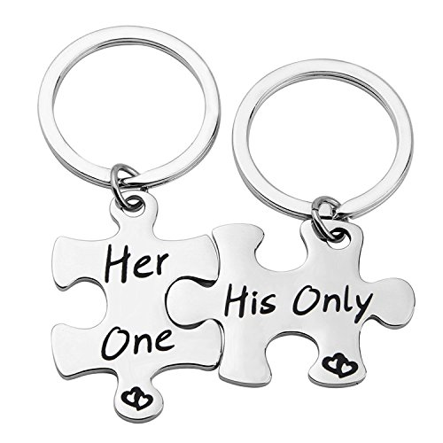 Zuo Bao Gift for Her Couples Puzzle Keychain His Only Her One Keychains Set Valentine Gift (Keychain) by Zuo Bzo