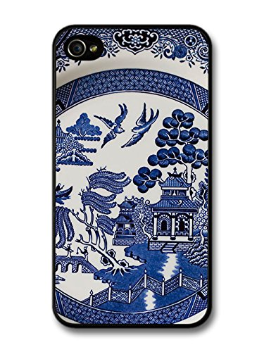 Blue Porcelain Style Hand Painted Asian Inspired Design with Doves case for iPhone 4 4S