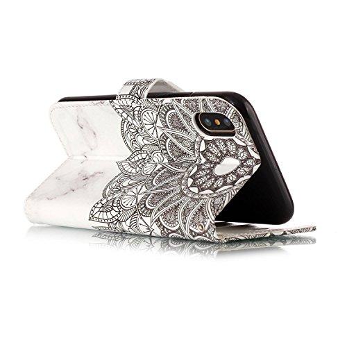 iPhone X Hülle, Chreey Premium PU Leder Tasche Klapphülle 3D Muster Kreatives Design Brieftasche Handyhülle mit Magnet Kartenfächer Standfunktion Schutzhülle Bumper Etui [Lila Blume] Marmor Mandala