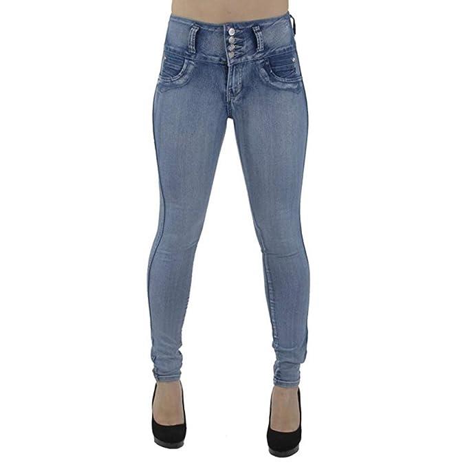 2c793c7e7dfd Jeans Sexy Donna vestibilità Slim Pantaloni Semplici Tinta Unita alla Moda  Donna Pantaloni Elasticizzati Vita Alta