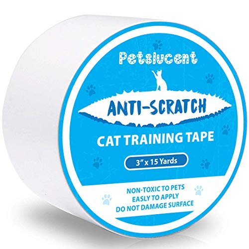 Petslucent Cat Scratch Deterrent Sticky Paws Tape, Cat Training Tape Anti Scratching Furniture Protector, Double Sided Guards for Carpet, Sofa, Couch, Door (Blue Sticker - 3'' x 15 Yards)
