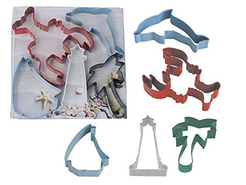 Beach Set Cookie Cutters 5 pc. Lobster Lighthouse Dolphin Palm tree Sailboat