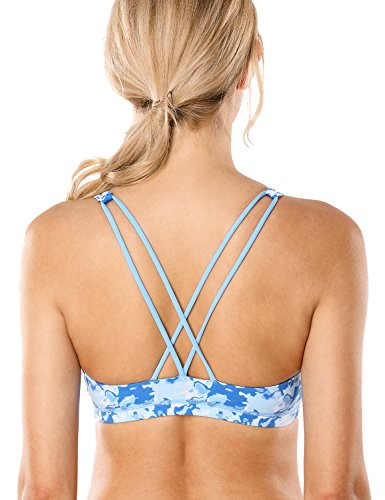 CRZ YOGA Women's Light Support Cross Back Wirefree Removable Cups Yoga Sport Bra