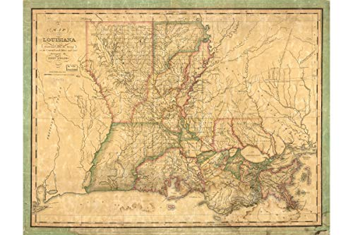 History Prints Map of Louisiana - Antique Map by John Melish, 1820-16 x 24 inches