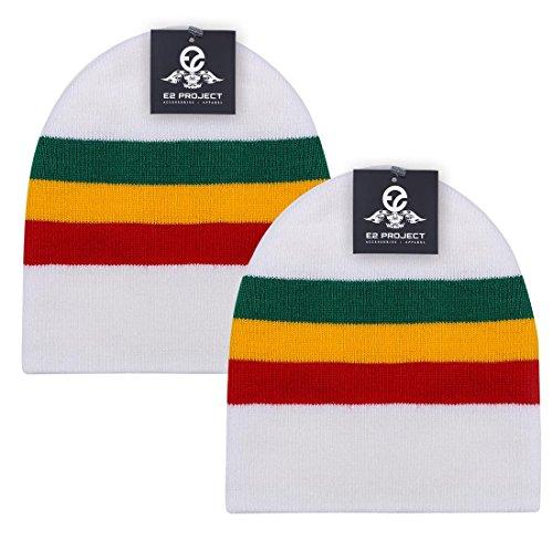 2 Pack Classic Solid Color Short Ski & Winter Beanie Skull Cap for Men or Women (White Rasta Stripes)