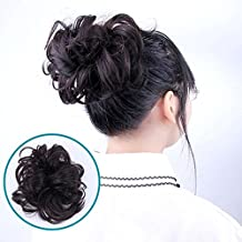 AOSOME Updo Hair Bun pieces Ponytail Extensions Real Human Hair Extensions Curly Messy Hair Bun Extensions Donut Hair Chignons,Natural Black