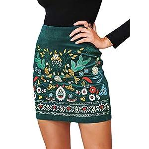 BerryGo-Falda-para-mujer-de-cintura-alta-bordada-diseo-floral