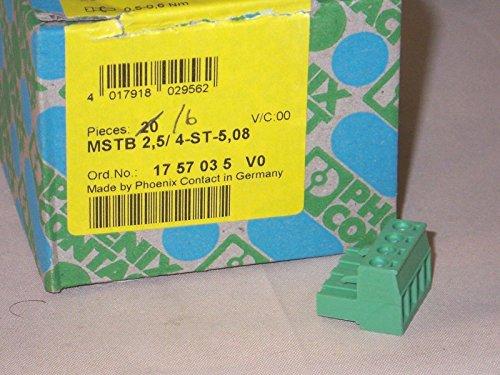 - PHOENIX CONTACT 1757035 TERMINAL BLOCK PLUGGABLE, 4POS, 24-12AWG (1 piece)