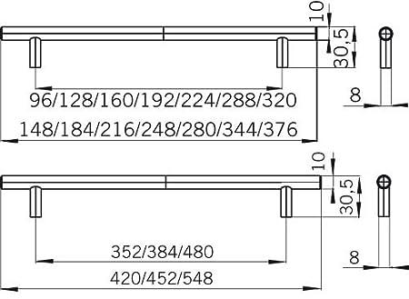 184 mm x 10 mm x 30 mm SIRO M/öbelgriff Lohne 1407-184N1 Edelstahl fein geschliffen Schlicht Edelstahl LA 128 mm