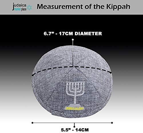Kippot Bulk. Yamaka Hat from Israel HolYudaica Pack of 5-Pcs Star 0f Dav!d Satin Kippah for Men /& Boys Hq 19cm White /& Silver String